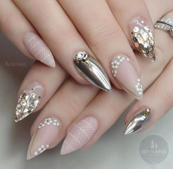 nude and mirror nail designs bmodish