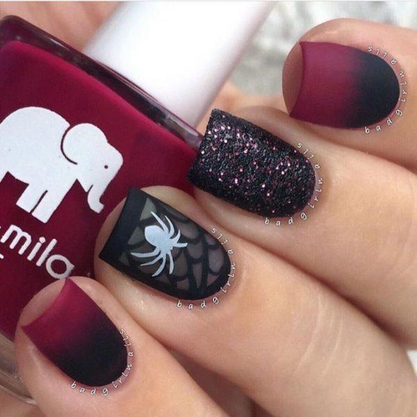 ombre burgundy spider halloween nail design bmodish