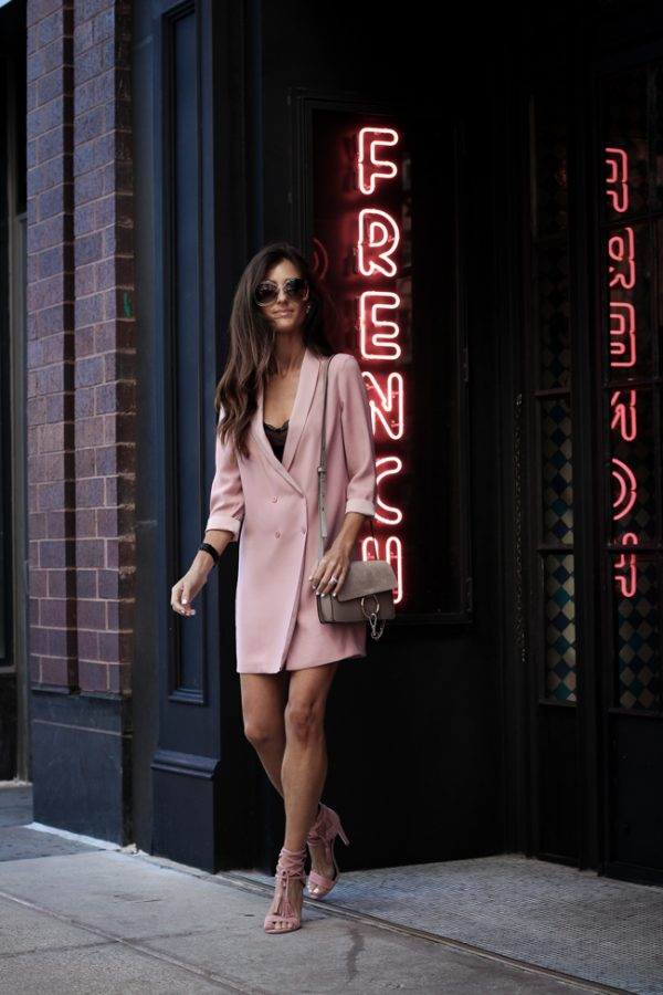 pink long blazer sexy night out outfit bmodish