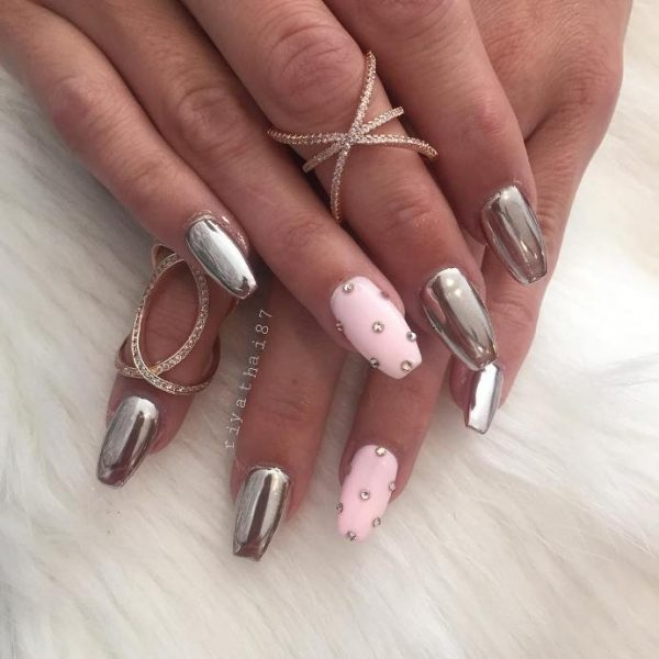 pink nails mirror nail art bmodish