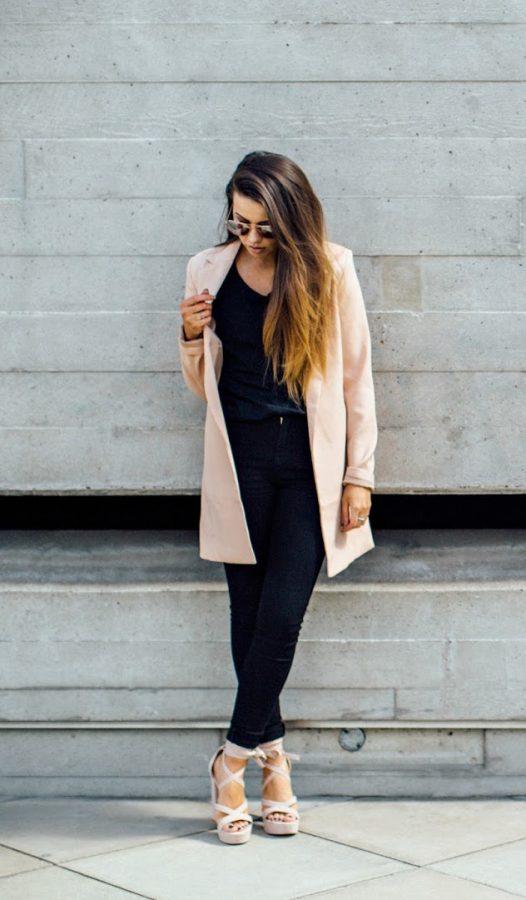 pink pastel long blazer fall outfit bmodish