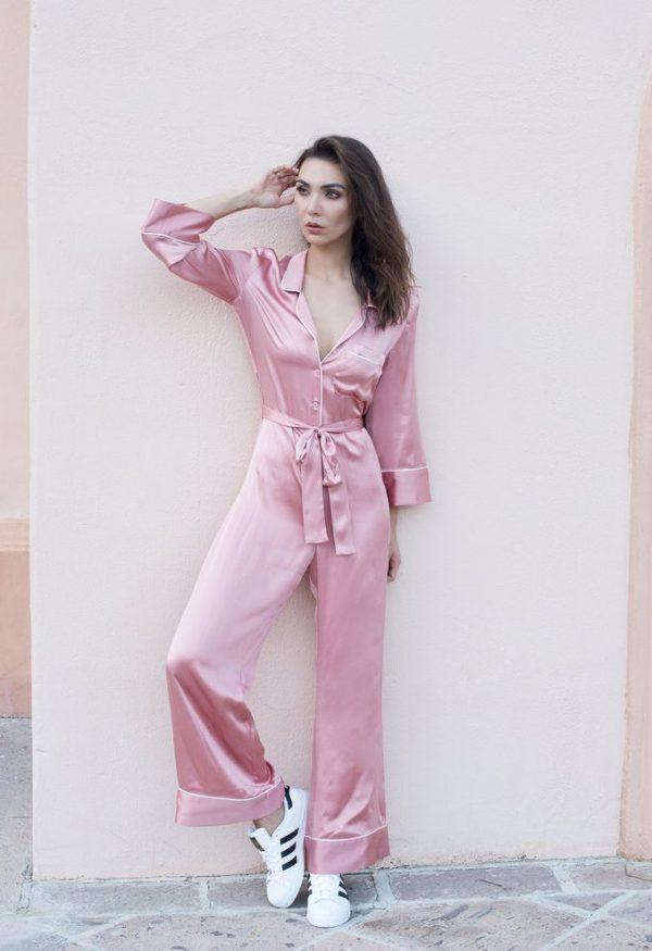 pink pyjama jumpsuit look bmodish
