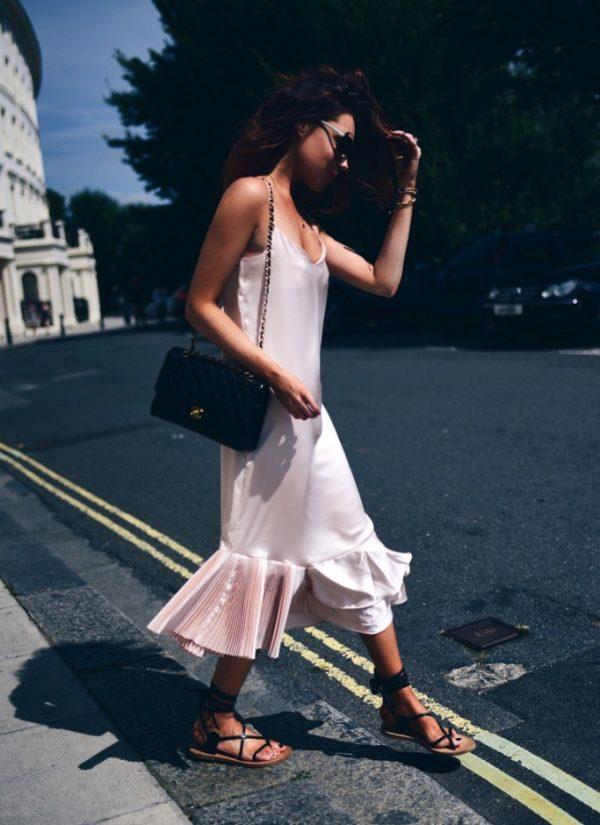 pink ruffled slip dress summer outfit bmodish