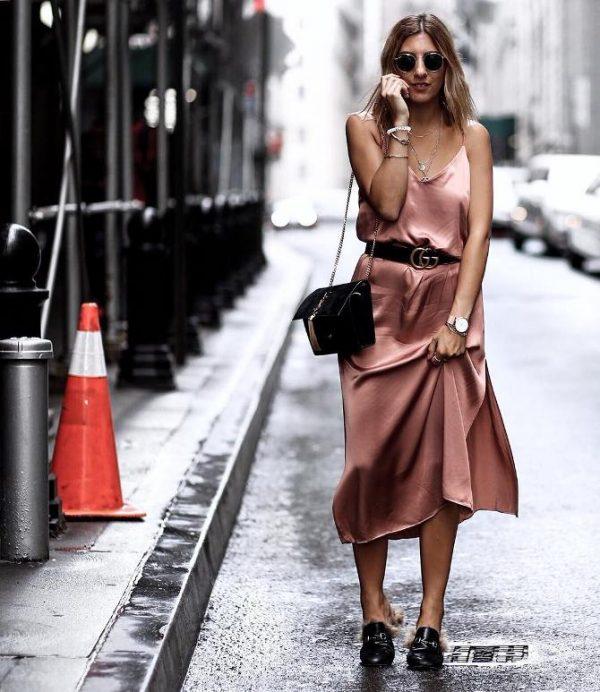 pink silk slip dress outfit idea bmodish