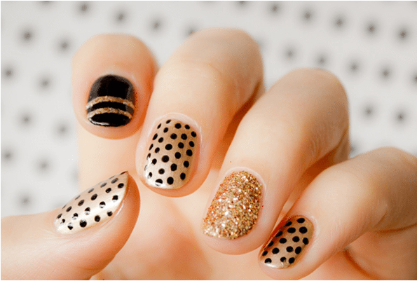 polka dot gold and black nails bmodish