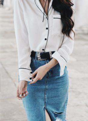 pyjama shirt with denim pencil skirt outfit bmodish