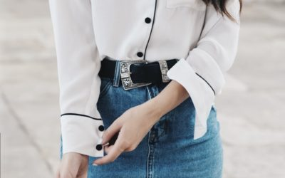 pyjama shirt with denim pencil skirt outfit bmodish