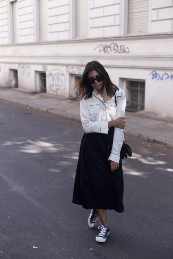 pyjama shirt with midi skirt outfit bmodish