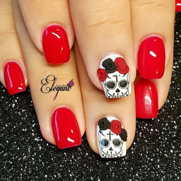red sugar skull nails bmodish