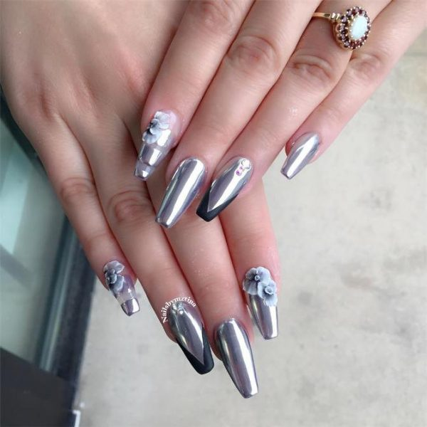 silver 3d mirror chrome nail art bmodish