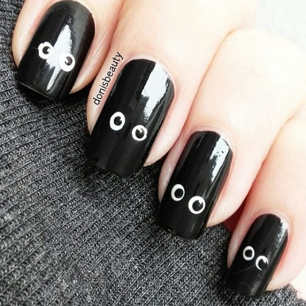 simple cute black halloween nail art bmodish