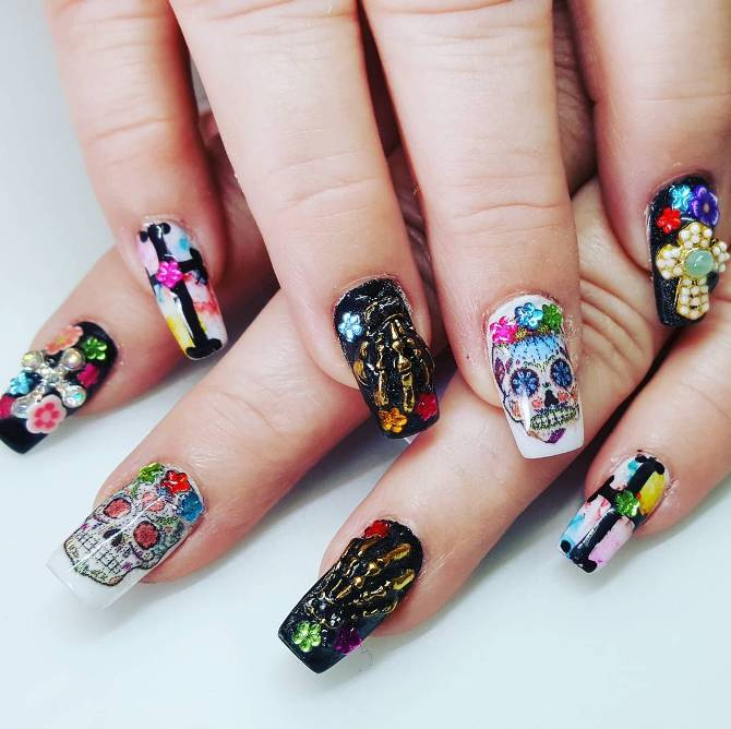 skull and sugar skull halloween nail design bmodish