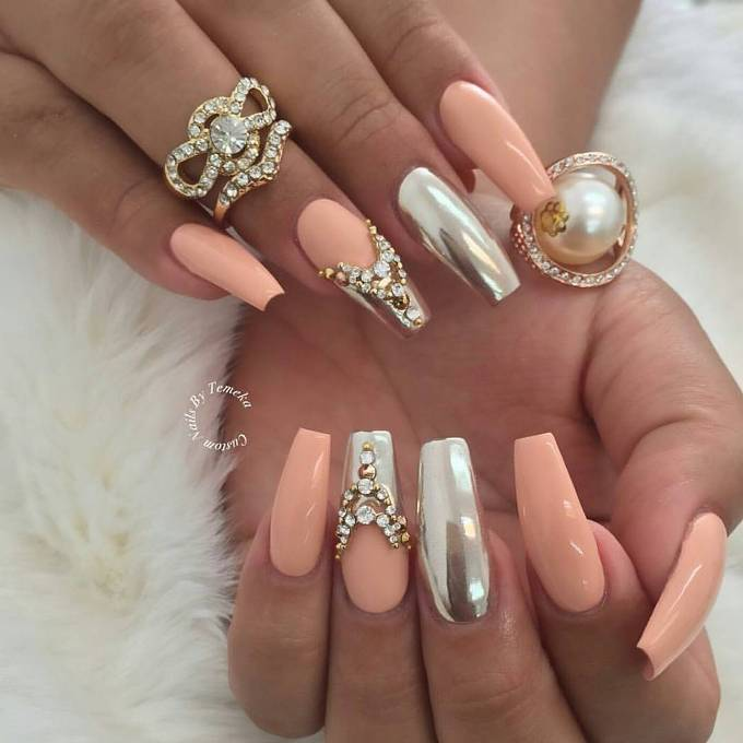soft peach with mirror nail design bmodish