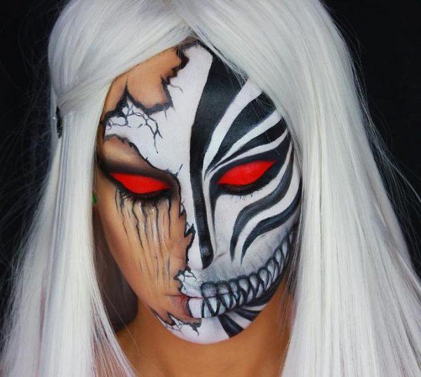 split skull face halloween makeup bmodish
