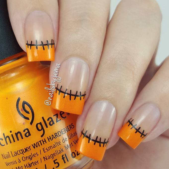 stiched halloween nail design bmodish
