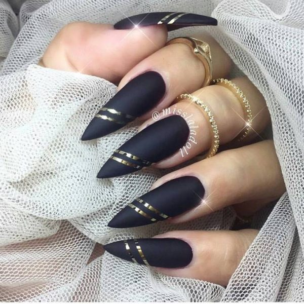 stiletto black and gold nails bmodish