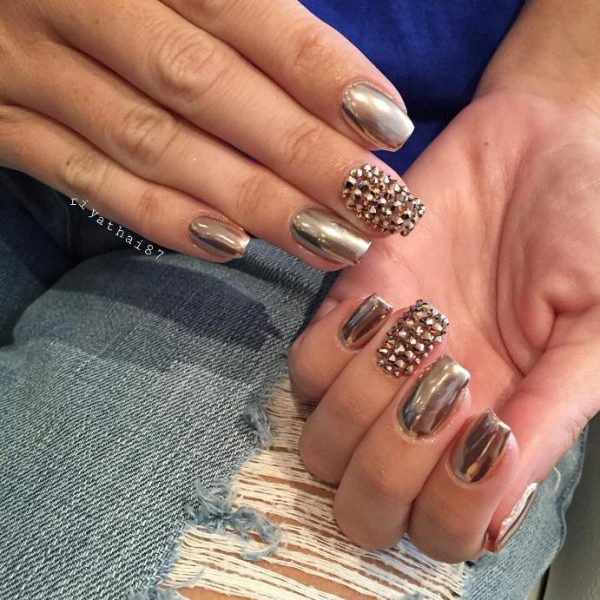 studded gold mirror nail design bmodish