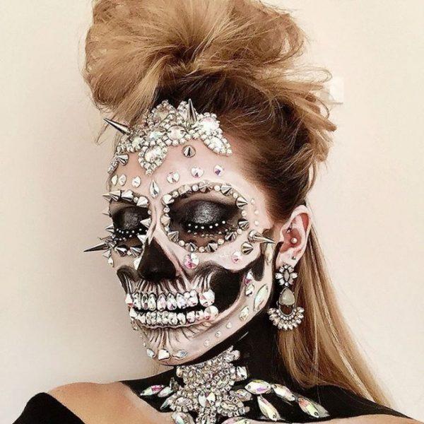 studded skull face halloween makeup bmodish