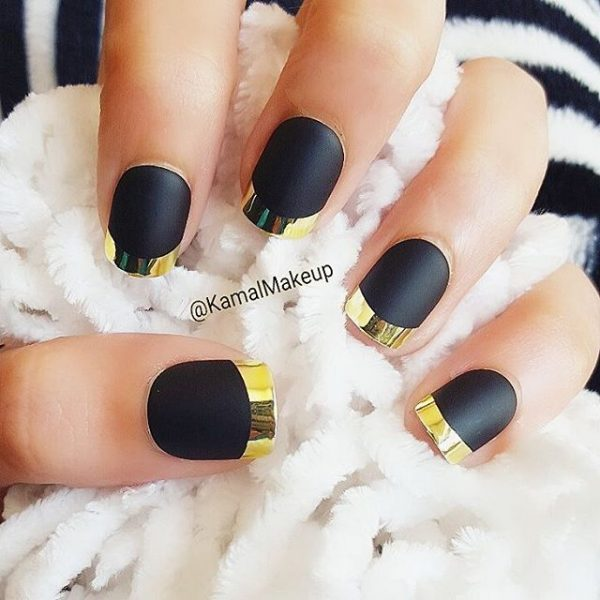 stylish black and gold nail art bmodish
