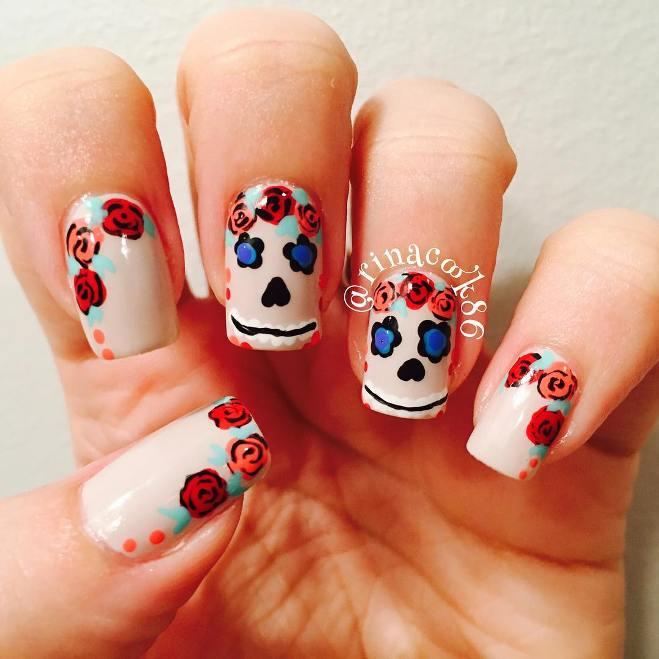 sugar skull floral nails bmodish