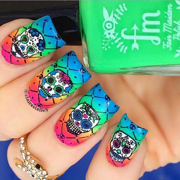 sugar skull halloween nail design bmodish