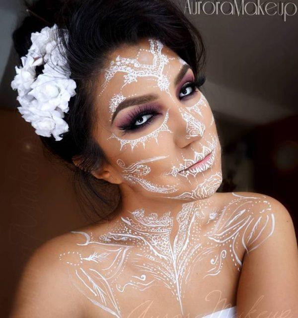 sugar skull in mehendi style halloween makeup idea bmodish