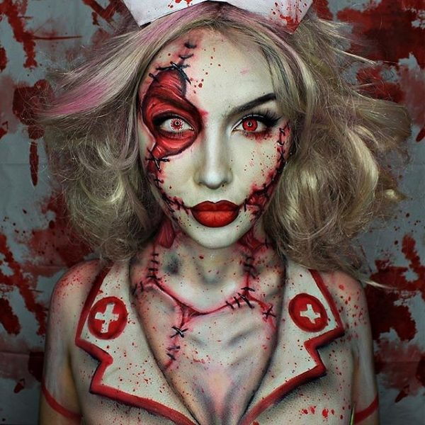 twisted nurse halloween makeup bmodish