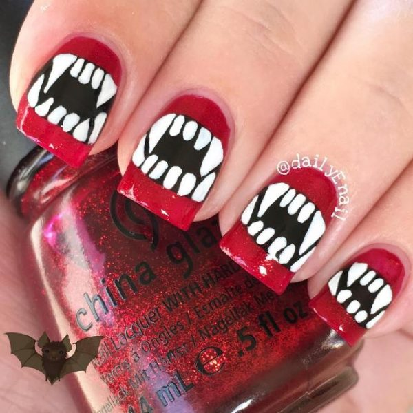 vampire teeth halloween nails bmodish