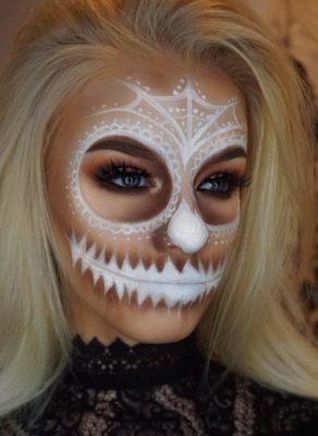 white skull face halloween makeup bmodish