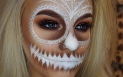 white skull face halloween makeup bmodish
