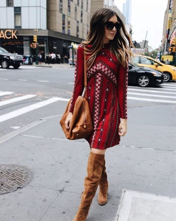 Printed dress with over the knee boots street style outfit bmodish