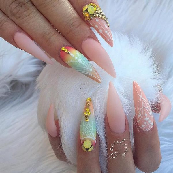 amazing summer pointy nail design bmodish - 30 Fabulous Pointy Nail Designs To Try - Be Modish