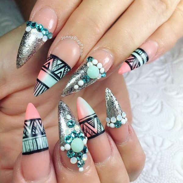 aztec stilleto pointy nail art bmodish