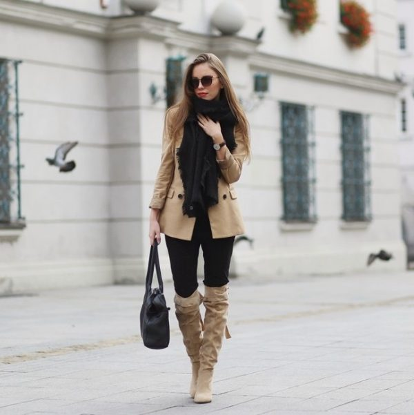 beige blazer with tall boot fall outfit bmodish
