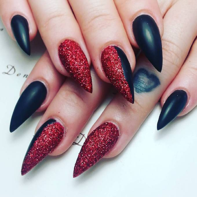 black and glitter red pointy nail designs bmodish - 30 Fabulous Pointy Nail Designs To Try - Be Modish