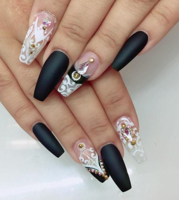 black and white ballerina nail design bmodish
