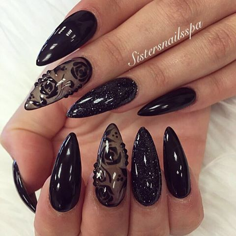 black glitter pointy nail design bmodish