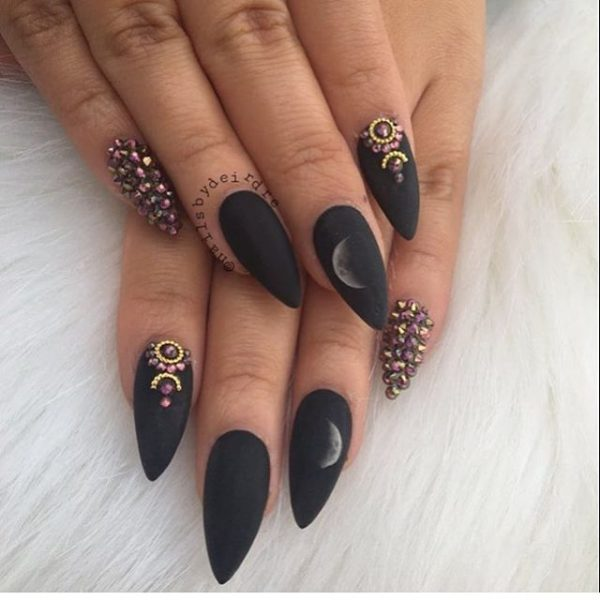 black matte pointy nails bmodish
