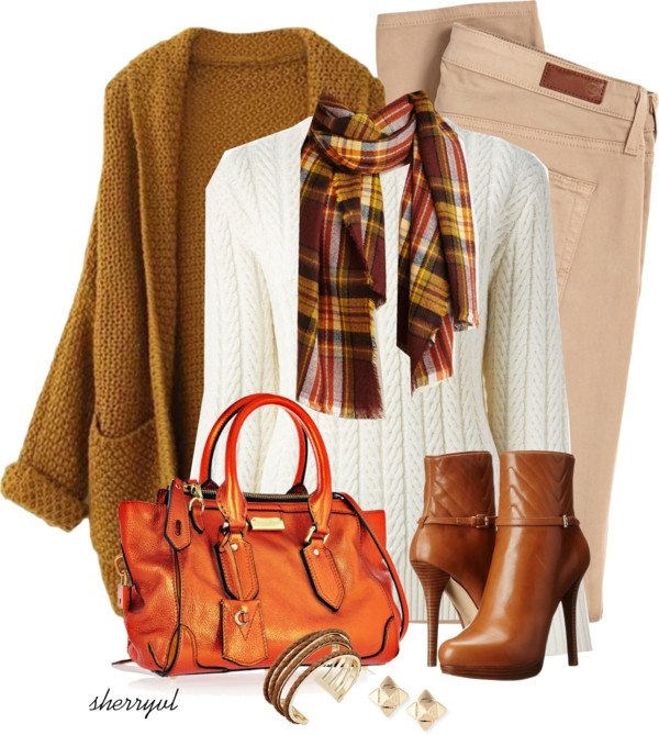 blush jeans with mustard cardigan fall outfit polyvore bmodish