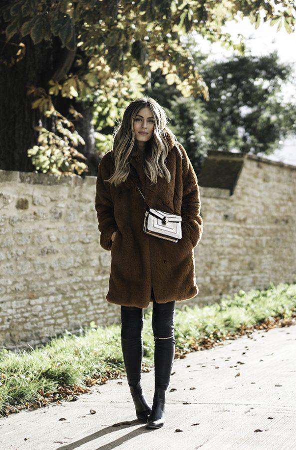 brown fur coat cozy fall outfit idea bmodish