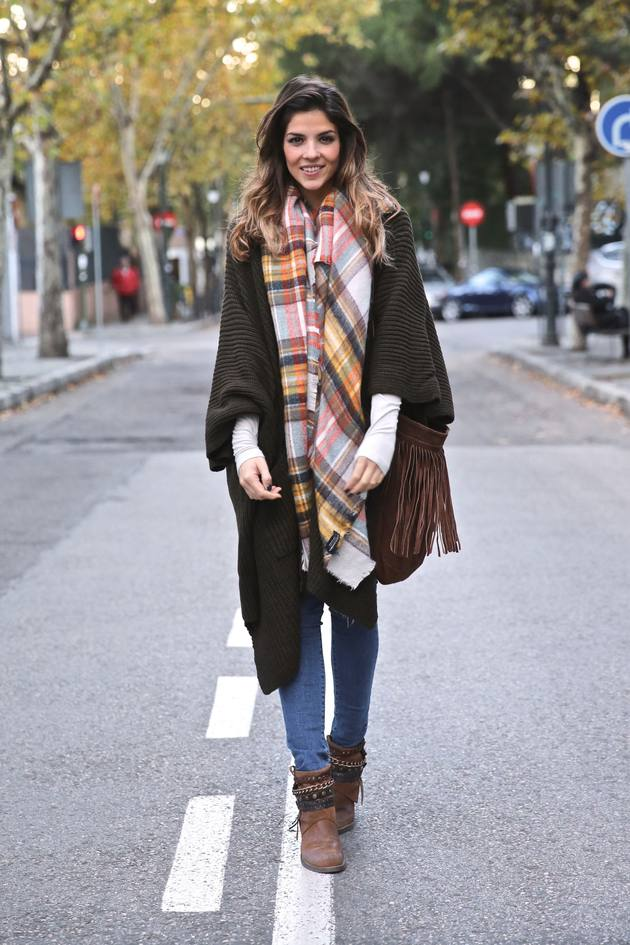 brown knitted cape cardigan outfit bmodish