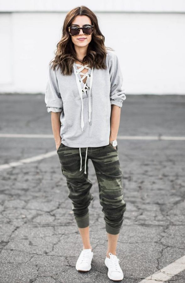 camo jogger pants outfits with lace up sweatshirt outfit bmodish