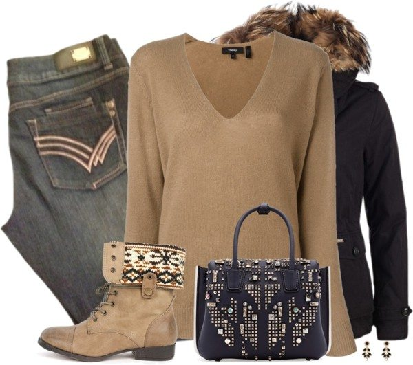 casual black parka fall winter polyvore combination outfit