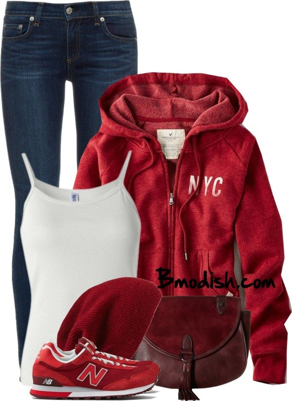 casual cozy everyday fall polyvore outfit with red hoodie bmodish