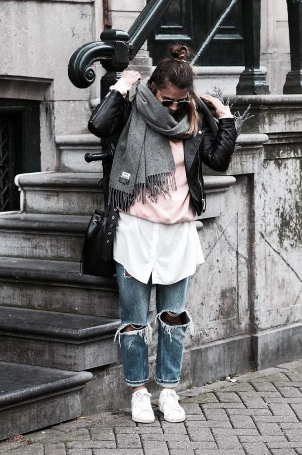 casual fall layer outfit bmodish