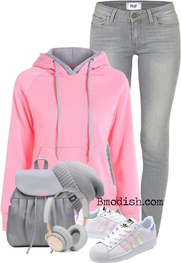 casual pink grey hoodie teen polyvore fall outfit bmodish