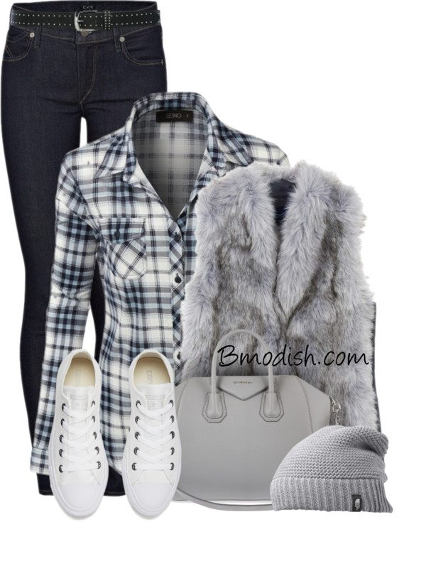 casual plaid shirt with fur vest polyvore fall outfit bmodish