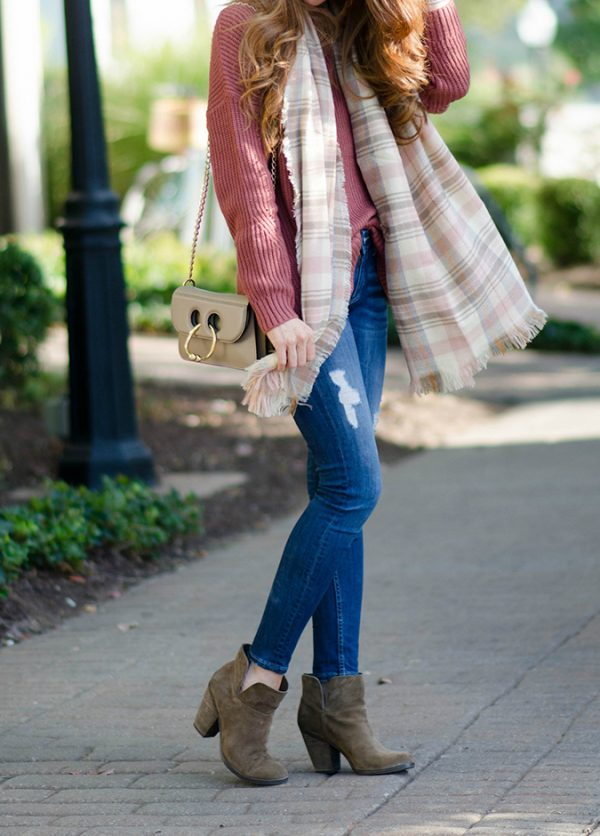 casual sweater wheater with skinny jeans and booties fall outfit bmodish