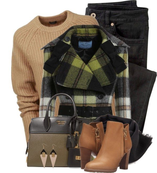 checked bow coat stylish fall polyvore outfits bmodish