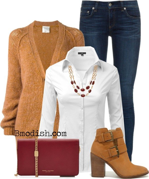 classic fall work wear polyvore outfit idea bmodish